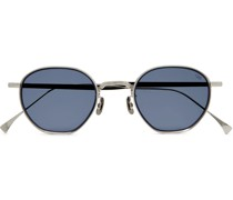 Round-Frame Engraved Silver-Tone Sunglasses