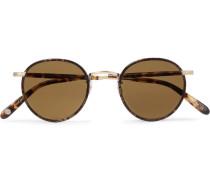Wilson 46 Round-frame Tortoiseshell Matte-acetate And Gold-tone Sunglasses