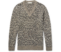 Lenny Leopard Jacquard-knit Linen, Wool And Cashmere-blend Sweater