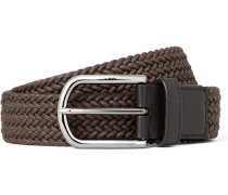 3.5cm Brown Leather-trimmed Woven Cord Belt
