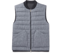 Reversible Slub Linen And Tech-shell Down Gilet