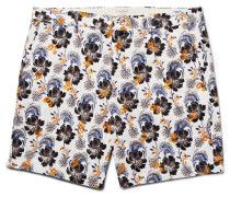Baxter Embroidered Printed Linen And Cotton-blend Shorts
