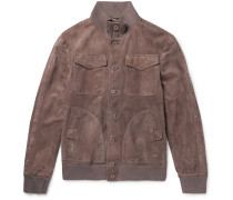 Slim-fit Intrecciato-trimmed Suede Bomber Jacket