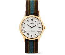 Archive Whitney Avenue Gold-tone And Striped Grosgrain Watch