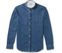 Isherwood Slim-fit Button-down Collar Washed-denim Shirt