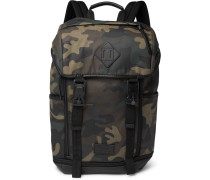 Camouflage-print Leather-trimmed Cotton-canvas Backpack