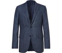 Blue Slub Wool, Silk And Linen-blend Blazer