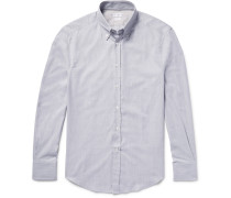 Slim-fit Button-down Collar Herringbone Cotton Shirt
