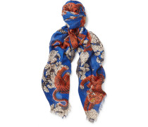 Tiger-print Modal And Silk-blend Scarf