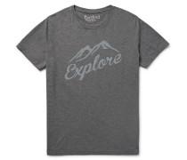 Slim-fit Flocked Mélange Cotton-jersey T-shirt