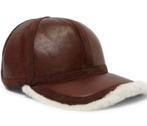 Shearling-lined Leather Cap