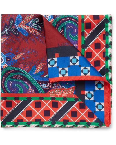 Paisley-print Silk-twill Pocket Square - Red
