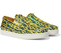 Pik Boat Spiked Glittered Logo-Print Canvas Slip-On Sneakers
