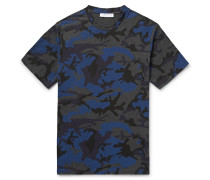 Camouflage-print Cotton-blend Jersey T-shirt