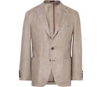 Beige Slim-fit Linen Blazer