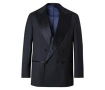 Double-Breasted Satin-Trimmed Virgin Wool Tuxedo Jacket
