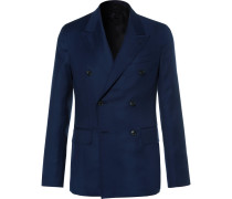 Blue Butterfly Slim-fit Double-breasted Wool-hopsack Blazer