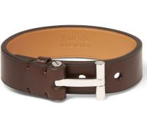 Leather And Palladium-plated Bracelet