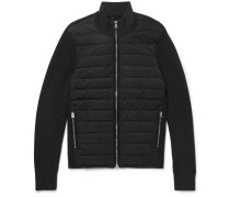 Slim-fit Ribbed Merino Wool And Quilted Shell Down Jacket