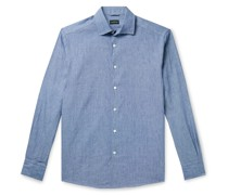Cutaway-Collar Mélange Slub Linen and Cotton-Blend Shirt