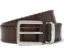 3cm Brown Whipstitched Leather Belt
