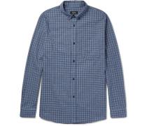 Marlon Slim-fit Button-down Collar Checked Cotton Shirt