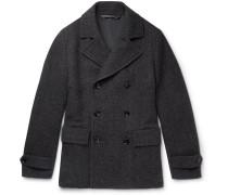 Herringbone Wool, Silk And Cashmere-blend Peacoat