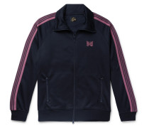 Striped Grosgrain-Trimmed Tech-Jersey Zip-Up Track Jacket