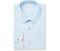 Blue Slim-fit Cotton-poplin Shirt