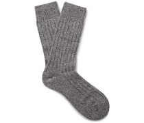Waddington Ribbed Mélange Cashmere-blend Socks