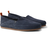 Collapsible-Heel Suede Loafers