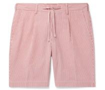 Striped Cotton-Seersucker Drawstring Shorts