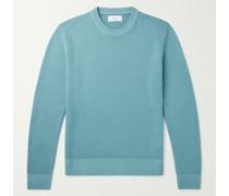 Garment-Dyed Waffle-Knit Merino Wool Sweater