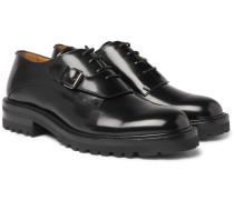 Buckle-detailed Glossed-leather Derby Shoes
