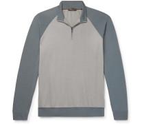 Colour-Block Virgin Wool and Cashmere Half-Zip Sweatshirt