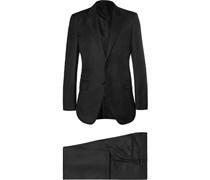 Black Slim-Fit Peak Lapel Wool Suit