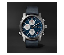 Limited Edition Automatic GMT Chronograph 43mm Stainless Steel and Leather Watch, Ref. No. ALT1-ZT-BL-R-S