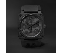 Black Camo Automatic 42mm Ceramic and Rubber Watch, Ref. No. BR0392-­‐CAMO-­‐CE/SRB