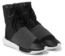 Qasa Suede-trimmed Elastic And Mesh High-top Sneakers
