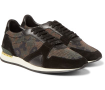 Suede And Leather-trimmed Camouflage Mesh Sneakers