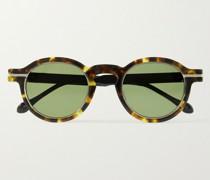 Round-Frame Tortoiseshell Acetate and Titanium Sunglasses