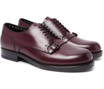 Buckle-detailed Leather Derby Shoes