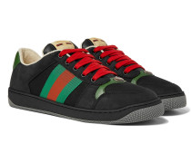 Screener Webbing-Trimmed Leather, Suede and Canvas Sneakers
