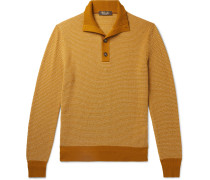 Slim-Fit Suede-Trimmed Baby Cashmere Half-Placket Sweater