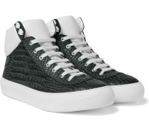 Argyle Croc-effect Leather High-top Sneakers