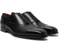 Cap-toe Polished-leather Oxford Shoes
