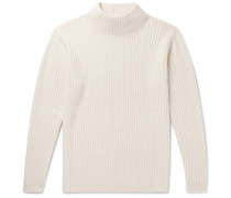 Ribbed Cashmere Mock-Neck Sweater