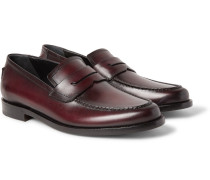 Gianni Burnished-leather Penny Loafers