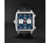 Monaco Automatic Chronograph 39mm Steel And Leather Watch