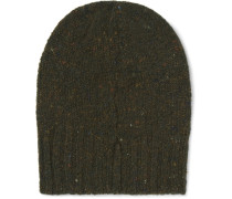 Ribbed Donegal Mélange Wool And Cashmere-blend Beanie